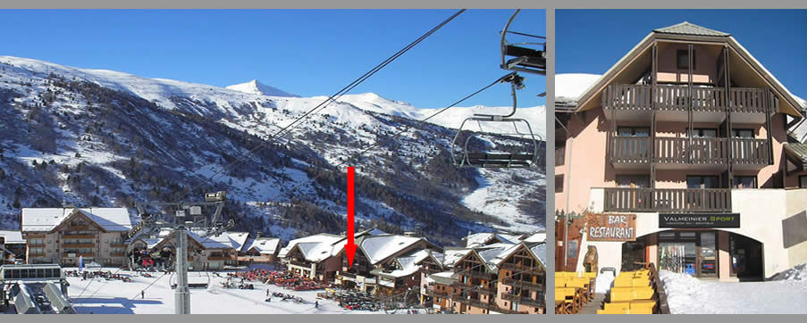 Ski & snowboard rental in Valmeinier, located on the piste at Valmeinier 1800